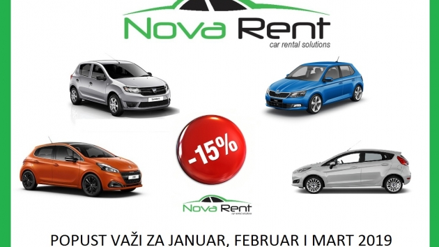 15% popusta u Nova Rent rent a car Beograd